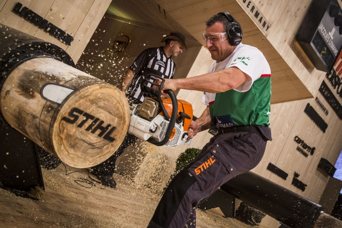 Istvan Juhasz of Hungary performs during the Single Championship of the Stihl Timbersports World Championship 2013 at the Porsche Arena in Stuttgart, Germany