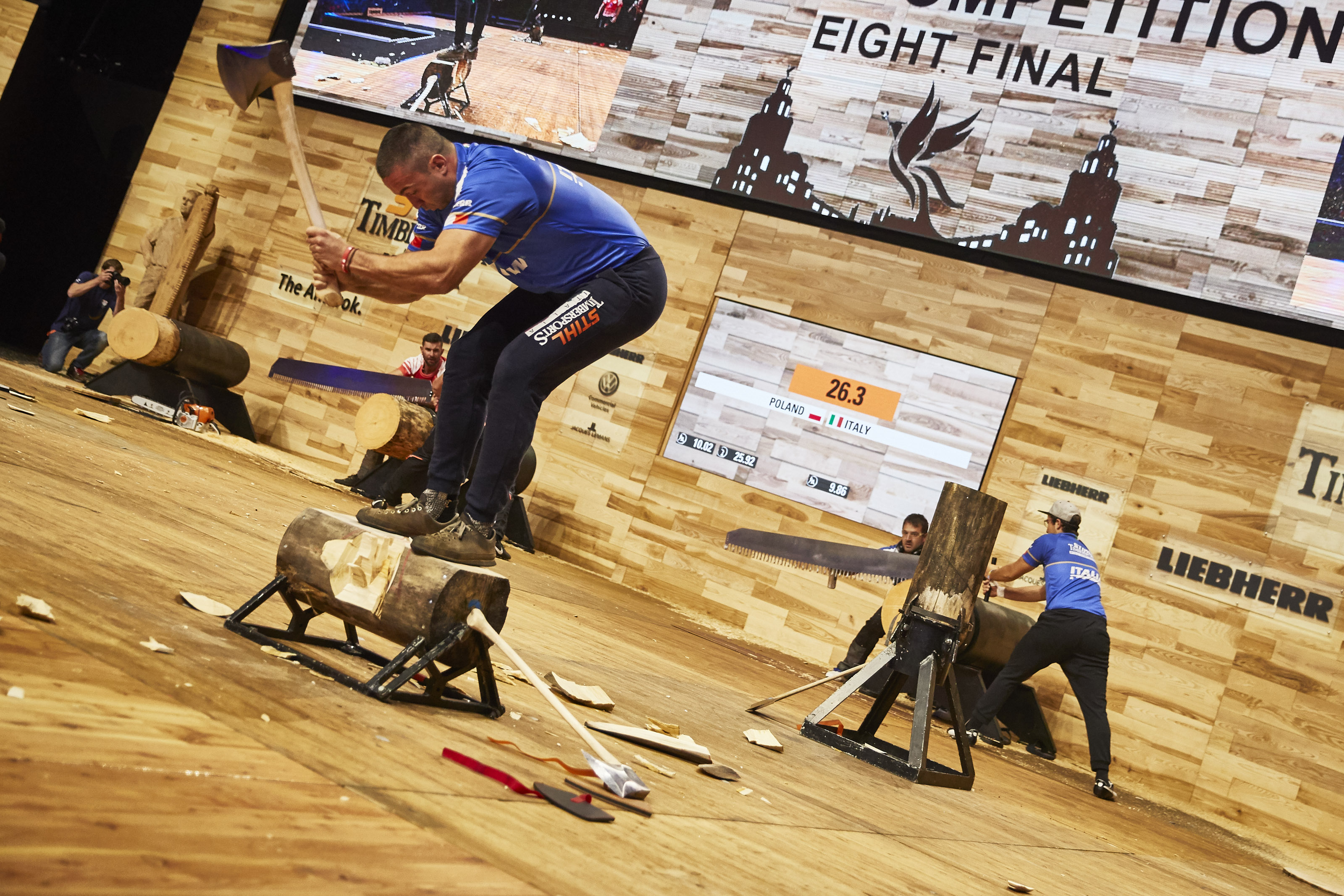 Team Italy competes during the STIHL TIMBERSPORTS® Team World Championship at the Echo Arena in Liverpool, Great Britain on October 19, 2018.